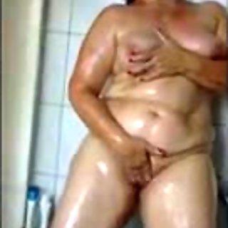 fat ass slut has a nasty shower
