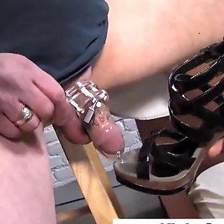 Femdom shoe bitch sucks black cock