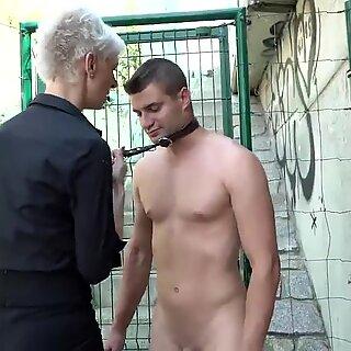 FEMDOM Skinny Granny Fucks Twink Slave in Public!