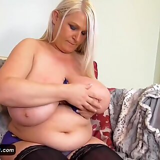 EuropeMature Old Chubby Sami plays with big tits