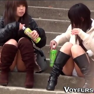 Asian teens flash panties