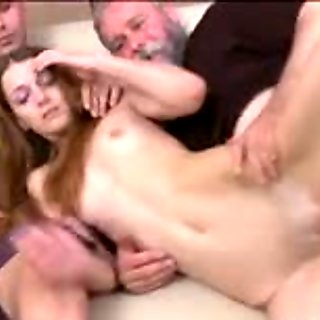 Young playgirl exposes her moist pussy for an old fucker