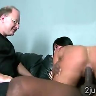 Gorgeous brunette fucked by black schlong while husband watches