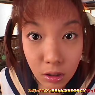 Little Japanese Schoolgirl Cum Covered - Japanese Bukkake Orgy
