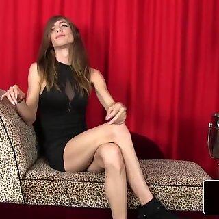 Slender lingerie fembois solo jerking cock