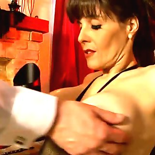 Goddess in Boots and Butler in Chastity