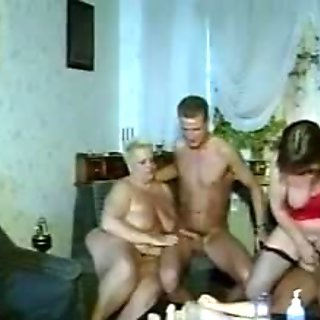 Fat German blonde gets fucked in a filthy threesome