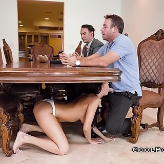 With husband and his friend sofi gives suck