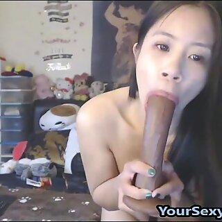 Small Asian Teen Sucks And Fucks Big Toys Extremely Deep