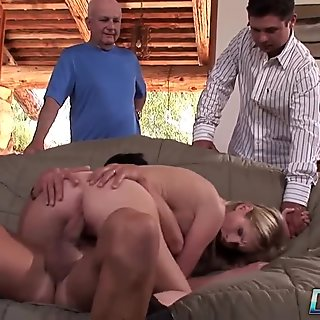 Beautiful blonde wife fucks in front of husband