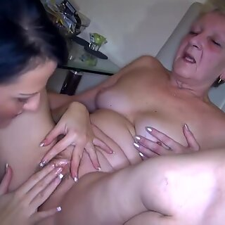 Sexy young female and plump elder Granma have sex with toy