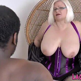 British gran in lingerie sucks black cock