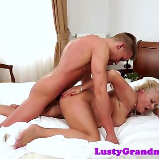 Busty cougar drilled by an enormous cock