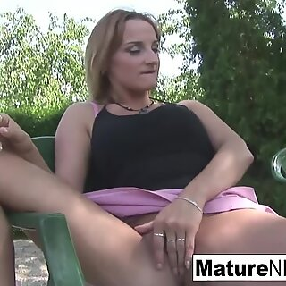 Busty Blonde MILF is Rewarded with a Facial Outdoors