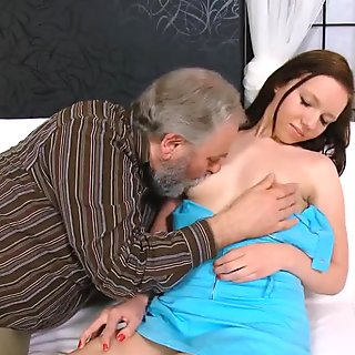 Sexy chick with tiny boobs seduced and fucked by her boyfriend's uncle - OldGoesYoung
