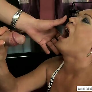 Young guy banged hard an old office lady