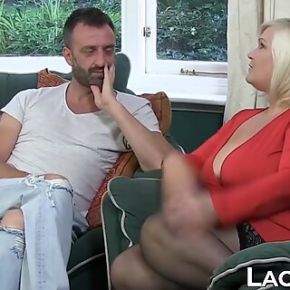 GILF in leather corset takes on two massive cocks