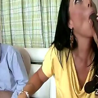 Slutty brunette MILF pleases her man in cuckold scene