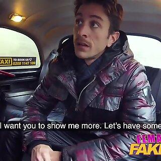 Female Fake Taxi Sexy wild blonde sucks and fucks Italian cock