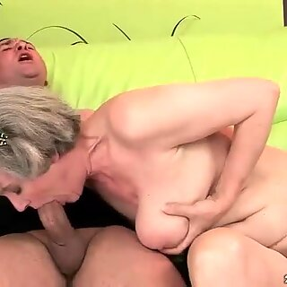 Granny with huge boobs gets fucked hard