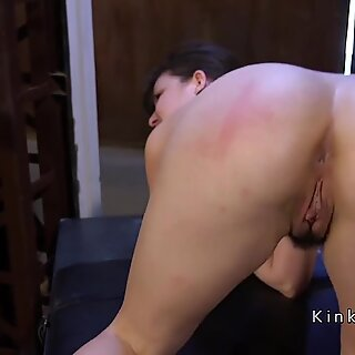 Hairy pussy slave caned and fucked