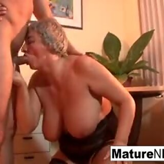 Mature BBW takes a load on her huge tits