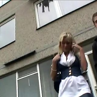 Cuckold watches his little girlfriend get fucked for cash