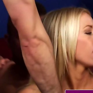 Blonde slut sucks off two