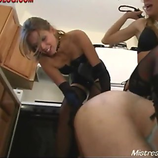 Summer and femdom friend cbt cock torment of male pig