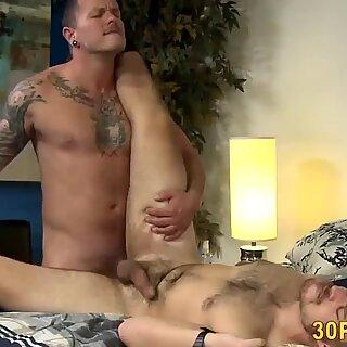 Hairy hunk gets fucked anally