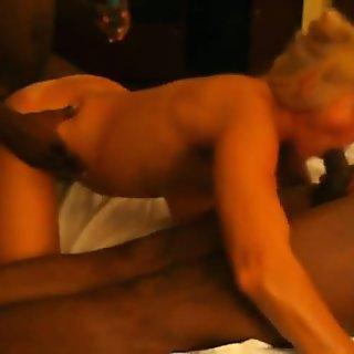 Blonde mature BBC spitroast