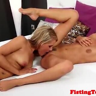 Hairy babe fisted deeply after pussylicking