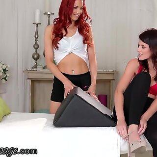 AllGirlMassage Redhead Seduces Friend for Bolster Massage