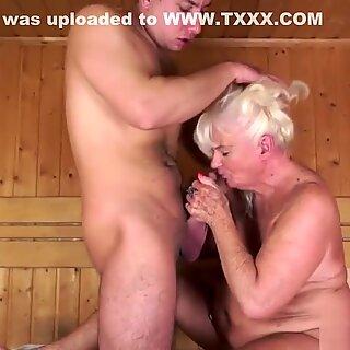 Gray granny fucked in sauna