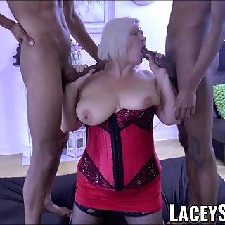 LACEYSTARR - BBC double team works on insatiable granny