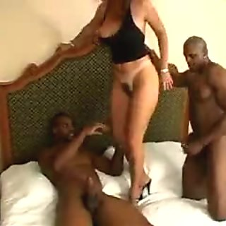 Sexy amateur mature housewife and her two huge black lover