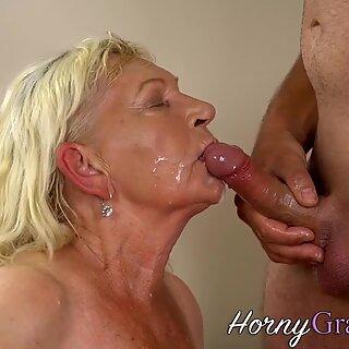 Blonde granny takes cum