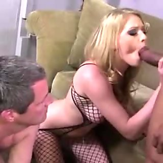 Cuckold watches his blonde babe gets fucked