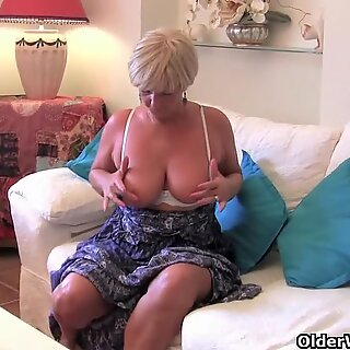 grandma with yam-sized boobies masturbates with her sex toy collection