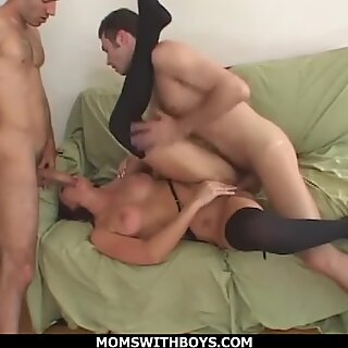 MomsWithBoys - Fucking Hot MILF Samantha Sin Double Teamed And Creamed