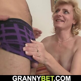 He picks up skinny blonde mature woman
