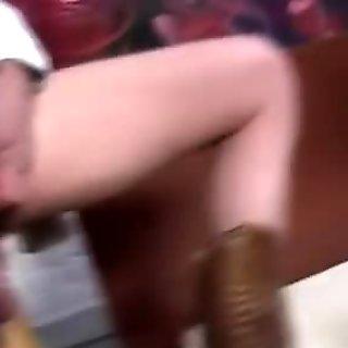 Femdom fetish slut uses chastity belt