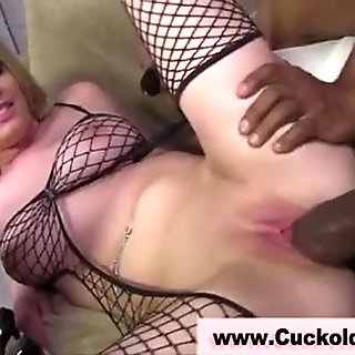 Cuckold eats sluts creampie after shes been fucked