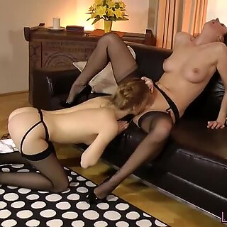 Sapphic milf eating out young euro nurse