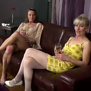 Three mature lesbians party on the couch