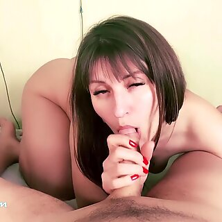 Cute Teen Blowjob and Riding on Big Dick StepFather - Cum Inside