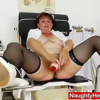 Awesome busty grandma boobies and muff gyno examination