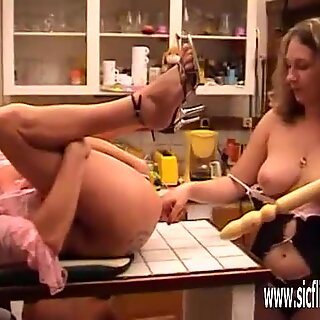 Bizarre double fist fucking and huge insertions slave