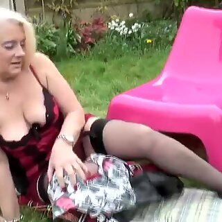 British granny playing with old cunt in the garden