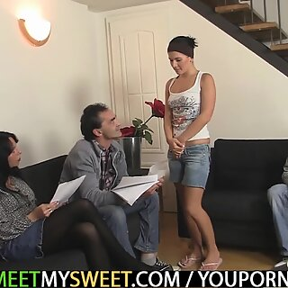 Hot 3some with young chick and older couple